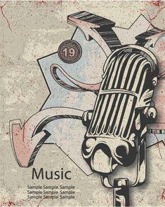 Music Poster Vector Illustration  #vector #ornate #symbol #decoration # #background # #design # #art #mic #microphone #music #decor #abstract #illustration #Elegant #artwork #creative #fake #image Sign Design, Design Art, Sign I, Vector Art, Cool Designs, Symbols, Abstract, Illustration, Creative