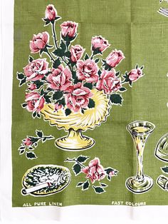 Linen Tea Towel Dinner Parry Glassware Chafing Dish Cigarette Ashtray Wall Hanging Decor Art Lamont Textile by NeatoKeen on Etsy
