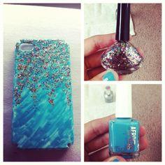 DIY nail polish phone case! Just take a plain white case decorated with nail polish!