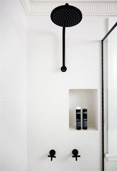 Gorgeous alternatives to subway tile for the bathroom - love these penny rounds on the entire shower wall