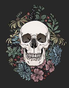 Flowers Pastel Goth Punk Girl Cool Strong Take No Crap Vinyl Sticker Skull Aesthetic Painting, Aesthetic Art, Aesthetic Drawings, Cute Wallpapers, Wallpaper Backgrounds, Graffiti, Skeleton Art, Skull Wallpaper, Art Et Illustration