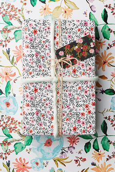 Sealed With A Bloom Wrapping Paper Book // Shannon Kirsten For Anthropologie Party Gifts, Diy Gifts, Christmas Snow Globes, Presents For Friends, Scrapbooking, Whimsical Fashion, Paper Book, Pretty Packaging, Holiday Ornaments