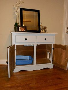 Cat litter box cabinet with drawers: love this one theres room for the mat inside!!!! Genius! If I can ever buy a kitten