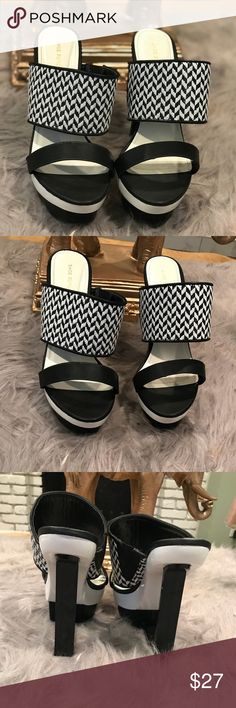"""Shoe Republic Heels Slide on heeled sandals from Shoe Republic in black and white weaves pattern with geometric cutout heel at back. Heel measures 4.5"""", wonderful unique piece to own. Shoe Republic LA Shoes Heels"""