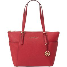 MICHAEL Michael Kors Jet Set Saffiano E/W Top Zip Tote Tote ($248) ❤ liked on Polyvore featuring bags, handbags, tote bags, designer handbags, red, zip top purse, red purse, michael michael kors, red tote bag and zip top tote