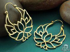 Brass lotus flower hoops