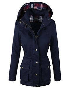 makeitmint Women's Quilting Padded Military Anorak Jacket w/ Plaid Hood Large YJH0016_Navy