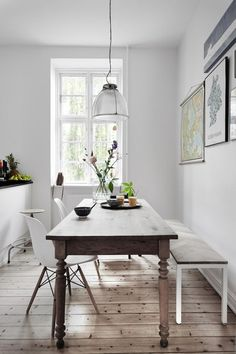Rustic Table with Modern Bench & Eames Chairs