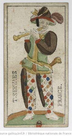"""[Jeu de tarot animalier à enseignes françaises et au portrait dit """"de Louis XV""""] : [jeu de cartes, estampe] / T. Servaes Auteur : Servaes, T. (17..-18..). Graveur Date d'édition : 1800 Type : image fixe Format : 1 jeu de 78 cartes : gravure sur bois coloriée au pochoir ; 11,3 x 6 cm Format : image/jpeg Droits : domaine public Identifiant : ark:/12148/btv1b10336516g"""