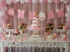 Chá de bebê menina - decoração de mesa - bonecas