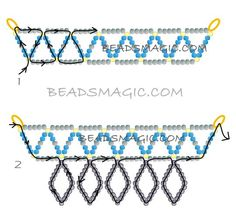 FREE Pattern for necklace AQUA. Page 2/2. Use: seed beads 11/0. Beadsmagic