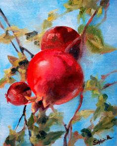 Red Pomegranates on Sky Blue  Original Oil Painting by CanotStop, $100.00