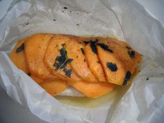 chicken and sweet potato cooked in parchment with brown butter and sage - easy to make and easy to clean up!