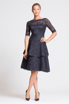 Navy Lace Dress with 3/4 Lace Tiered Dress. Short Navy Blue MOB Dress