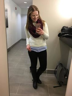 Something Good Blog #dcblogger #outfitoutfitoftheday #ootd black jeans,  black jeans, black boots, faux layered top, white sweater, blue shirttail #womensclothing #clothes #style #fashoin #fallfashion #winterfashion #workoutfit