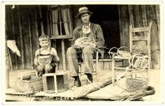 basket makers - historical postcard.  Reminds me of me and my dad!
