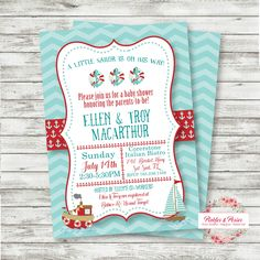 Anchor Baby Shower Invitation - Nautical Baby Shower Supplies - PRINTABLE Invitation - Digital Files - Sail Boat Invitation Anchors Aweigh by PicklesAndPosies on Etsy
