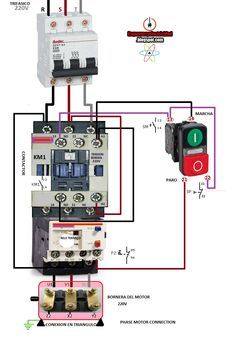 contactor wiring guide for 3 phase motor with circuit breaker rh pinterest com 3 Pole Contactor Wiring Diagram Contactor Coil Wiring Diagram