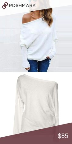Off Shoulder Loose Ribbed Knit Sweater Top White Sexy off shoulder style, chic fitted long dolman style sleeves, a super cozy ribbed knit texture, this ultra soft, loose, slouchy sweater will be your go to this season. Order a size up for an oversized look.  ❌ Sorry, no trades.  507676  waffle knit loose fit cable  fairlygirly fairlygirly Tops
