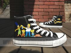 The Simpsons Cartoon Shoes Hand Painted High Top Black Canvas Sneaker for Kids/Adults Painted Canvas Shoes, Painted Sneakers, Hand Painted Shoes, Crazy Shoes, Kid Shoes, Me Too Shoes, Cartoon Shoes, Custom Shoes, Custom Converse