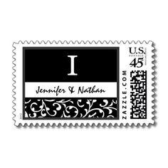~ I ~ Wedding Swirly Damask Monogram Stamp in Black and White