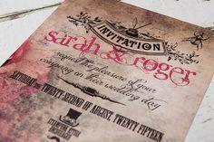Steampunk wedding invitation.