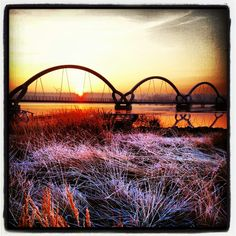 Walkingbridge Sölvesborg Sweden. Backdrop for Piet Oudolfs park in a winter-rest.