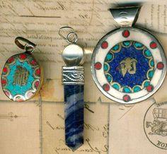Tibet Turquoise Red Coral INLAY Pendants~3~Amethyst Pendulum~Brass Hindu Vintage