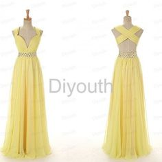 Long Yellow Open Back V-neck Beading Prom Dress Evening Gowns 2015