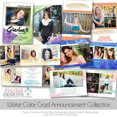 Water Color Graduation Announcement Collection - Set of 5 custom photoshop templates for photographers Graduation Templates, Graduation Announcements, Senior Girls, Photo Cards, Photoshop, Watercolor, Modern, Fun, Photography