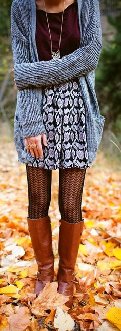Gorgeous street style with cardigan, necklace, leggings, brown buckled boot - can't wait for Fall!