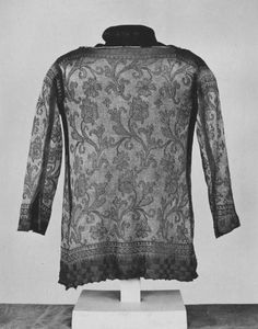 Waistcoat.  Italy, c. 1630-1700.  Hand-knitted in silk and silver-gilt wrapped silk, lined with linen.  Exceptionally fine work at 17 st/in.  A rare example of 17th c informal wear. | V&A