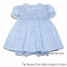 Feltman Brothers Infant Girls Smocked Midgie Dress with Bloomers - Light BLUE