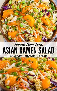 A fresh HEALTHY version of the ridiculously amazing Asian ramen salad made with better fresher ingredients With crunchy cabbage coleslaw mandarin oranges almonds and the. Vegetarian Recipes, Cooking Recipes, Healthy Recipes, Whole30 Recipes, Bread Recipes, Cooking Tips, Easy Recipes, Asian Ramen Salad, Asian Noodle Salads