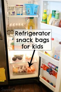 Healthy refrigerator snack bag ideas for kids.