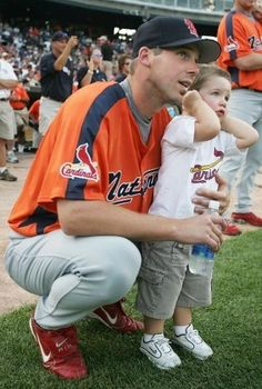 Chris Carpenter and his son, Sam, attend the 2005 All Star Game festivities.  Carp was the starting pitcher for the National League.