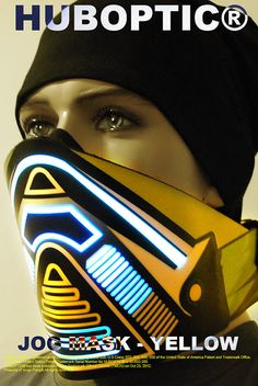 61dc152880a0 Yellow Bandana LED Scorpion Jog Light Up Mask for by HUBOPTIC Rave Mask