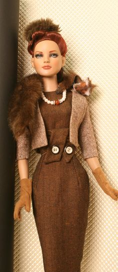 Wool dress with a wool bolero and a fox stole Fashion and doll repaint by Ayal Armon. Sewing Doll Clothes, Sewing Dolls, Barbie Clothes, Barbies Dolls, Barbie Wardrobe, Real Doll, Barbie Friends, Barbie Dress, Wool Dress