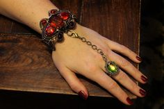 Neo Victorian Jewelry Set - Amber and Glass Bracelet with Vitrail Ring