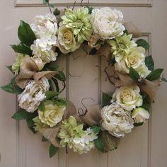 Wedding Wreath, Wedding Decoration with Burlap, Floral Wreath, Cottage Chic, Rustic Wedding Decor, White Wreath, Shabby Chic Wedding Wreath. $100.00, via Etsy.