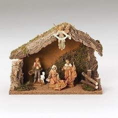 Fontanini 5 piece Nativity figurine set with Italian stable in 5in scale. Start your family Christmas tradition with this wonderful nativity set that includes Holy Family, shepherd with sheep, an angel and an Italian stable that his large enough to hold additional figures.