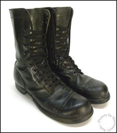 1950's Vintage Corcoran Black Leather Punk Rock Paratrooper Combat Jump Boots #Corcoran #MiltaryCombatBoots