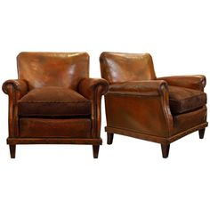 pair of english leather club chairs - Brown Leather Club Chair