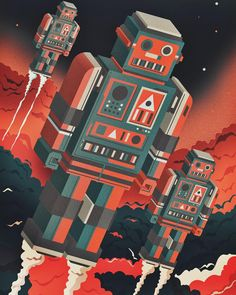Rise of the Robots. This is one of those illustrations that just started as a doodle in the sketchbook that I rather liked so between commissions thought I'd work up to full colour illustration. Could be a print one day may add typography but quite like it how it is. #robot #sciencfiction #space by neil_a_stevens