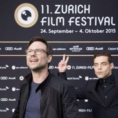 "ramimalekonline: "" Rami Malek photobombing Christian Slater at the Zurich Film Festival in Switzerland on September 27th 2015 """