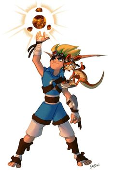 Jak and Daxter collecting a power cell