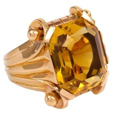 1940s Citrine Gold Cocktail Ring