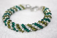Emerald Green Swarovski Bracelet by PearlTwinkle on Etsy