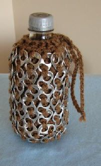 Pop Tabs and Crochet Unite! Free pattern for water bottle holder.