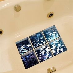 6pcs 13x13cm 3D Anti Slip Waterproof PVC Bathtub Sticker Decor Decals bathroom wall stickers